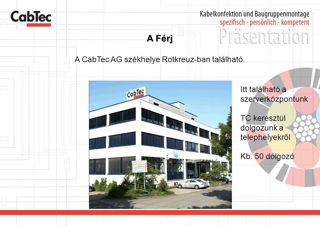 A Férj A CabTec AG székhelye Rotkreuz-ban található. Itt található a szerverközpontunk TC keresztül dolgozunk a telephelyekről Kb. 50 dolgozó