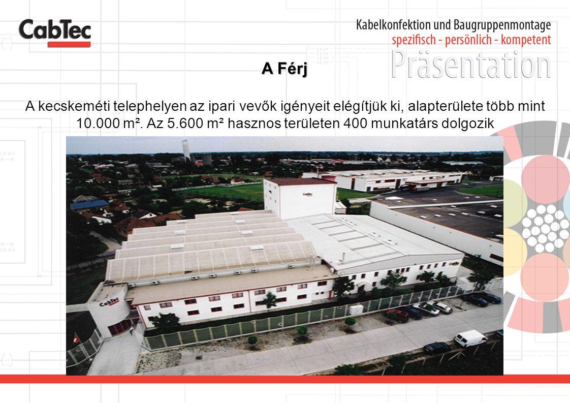 A Férj A kecskeméti telephelyen az ipari vevők igényeit elégítjük ki, alapterülete több mint 10.000 m². Az 5.600 m² hasznos területen 400 munkatárs do