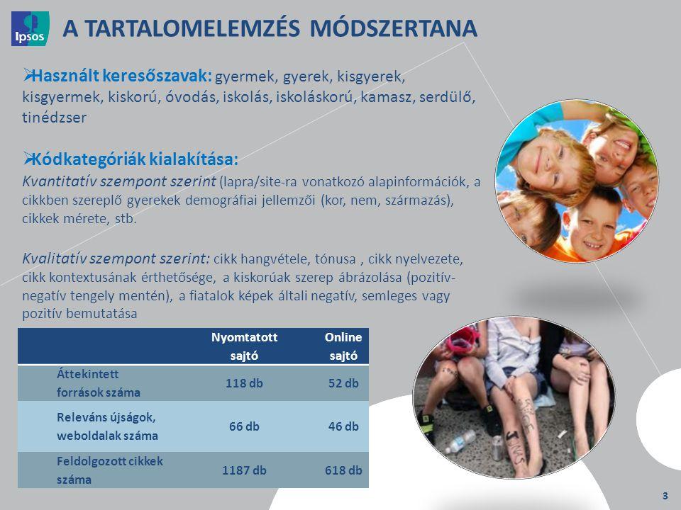 3 A TARTALOMELEMZÉS MÓDSZERTANA  Használt keresőszavak: gyermek, gyerek, kisgyerek, kisgyermek, kiskorú, óvodás, iskolás, iskoláskorú, kamasz, serdül