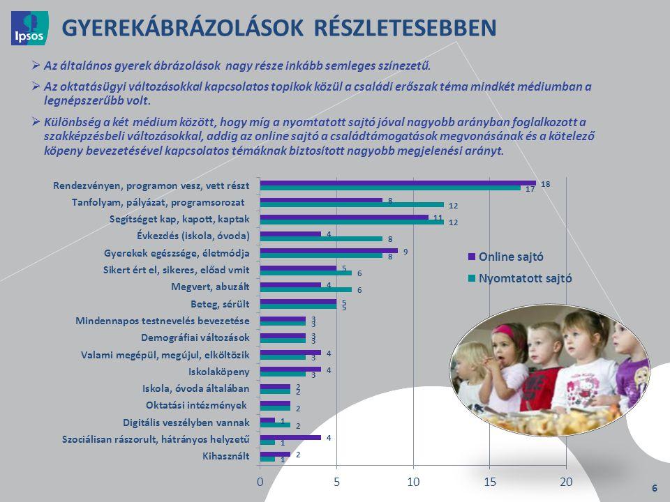 6 GYEREKÁBRÁZOLÁSOK RÉSZLETESEBBEN  Az általános gyerek ábrázolások nagy része inkább semleges színezetű.  Az oktatásügyi változásokkal kapcsolatos