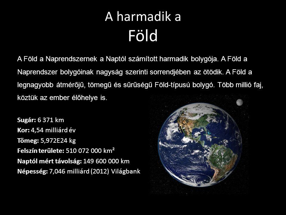 A harmadik a Föld A Föld a Naprendszernek a Naptól számított harmadik bolygója. A Föld a Naprendszer bolygóinak nagyság szerinti sorrendjében az ötödi