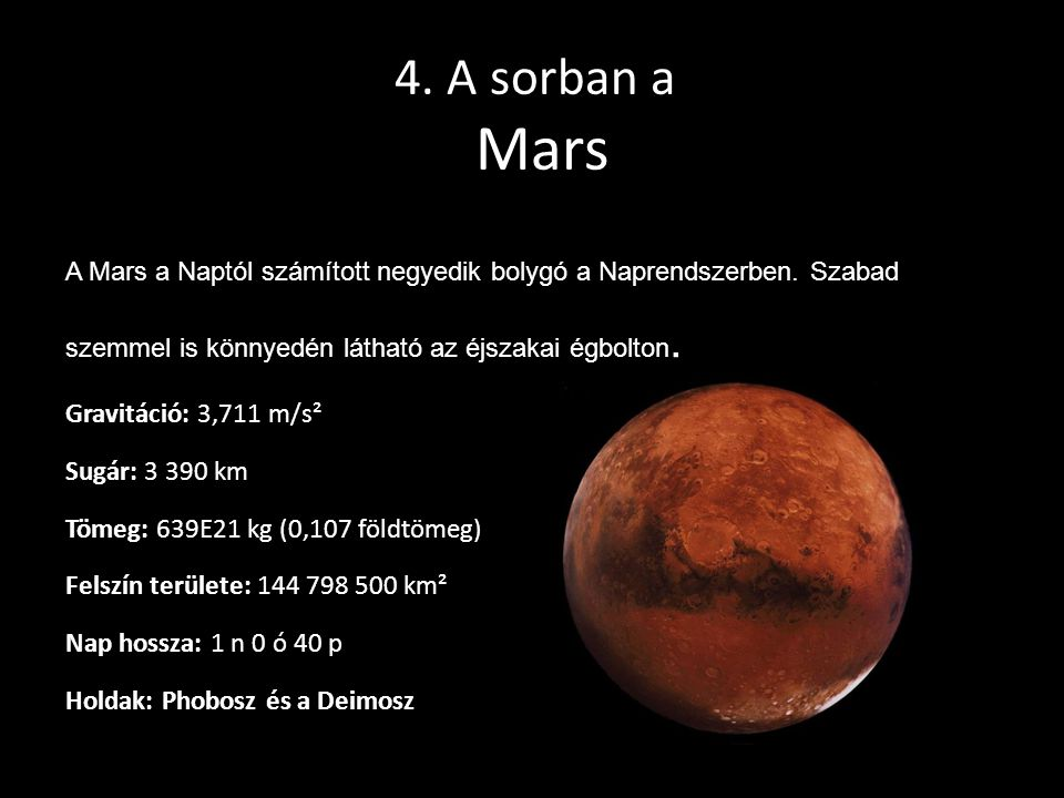 4. A sorban a Mars A Mars a Naptól számított negyedik bolygó a Naprendszerben. Szabad szemmel is könnyedén látható az éjszakai égbolton. Gravitáció: 3