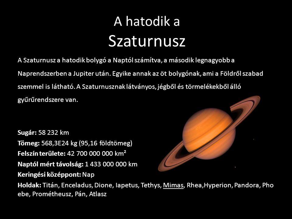 A hatodik a Szaturnusz A Szaturnusz a hatodik bolygó a Naptól számítva, a második legnagyobb a Naprendszerben a Jupiter után. Egyike annak az öt bolyg