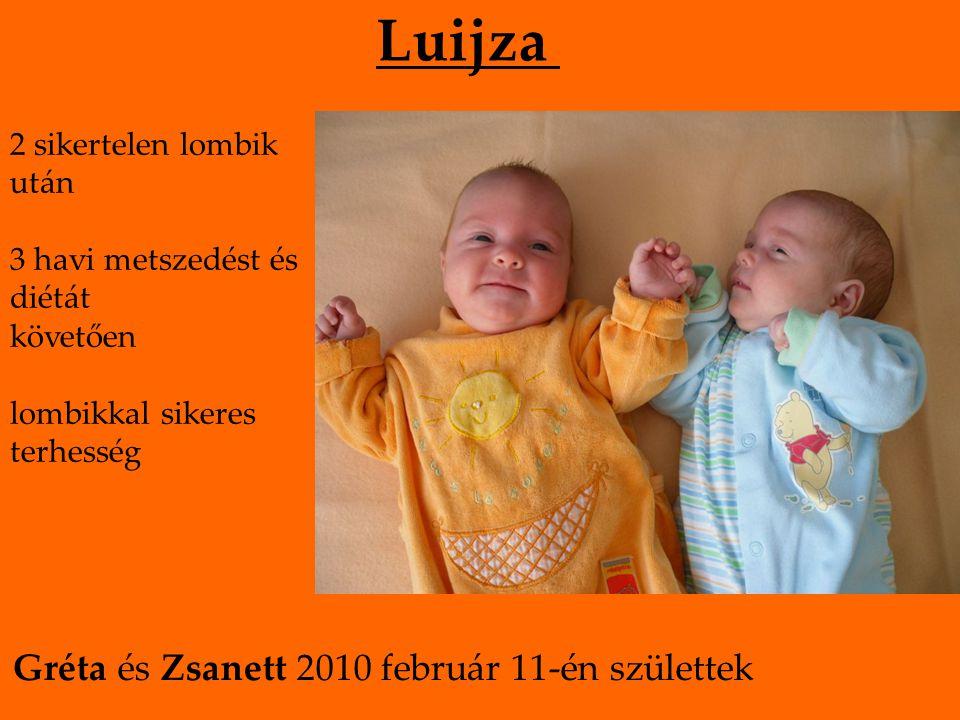 Luijza 2 sikertelen lombik után 3 havi metszedést és diétát követően lombikkal sikeres terhesség Gréta és Zsanett 2010 február 11-én születtek