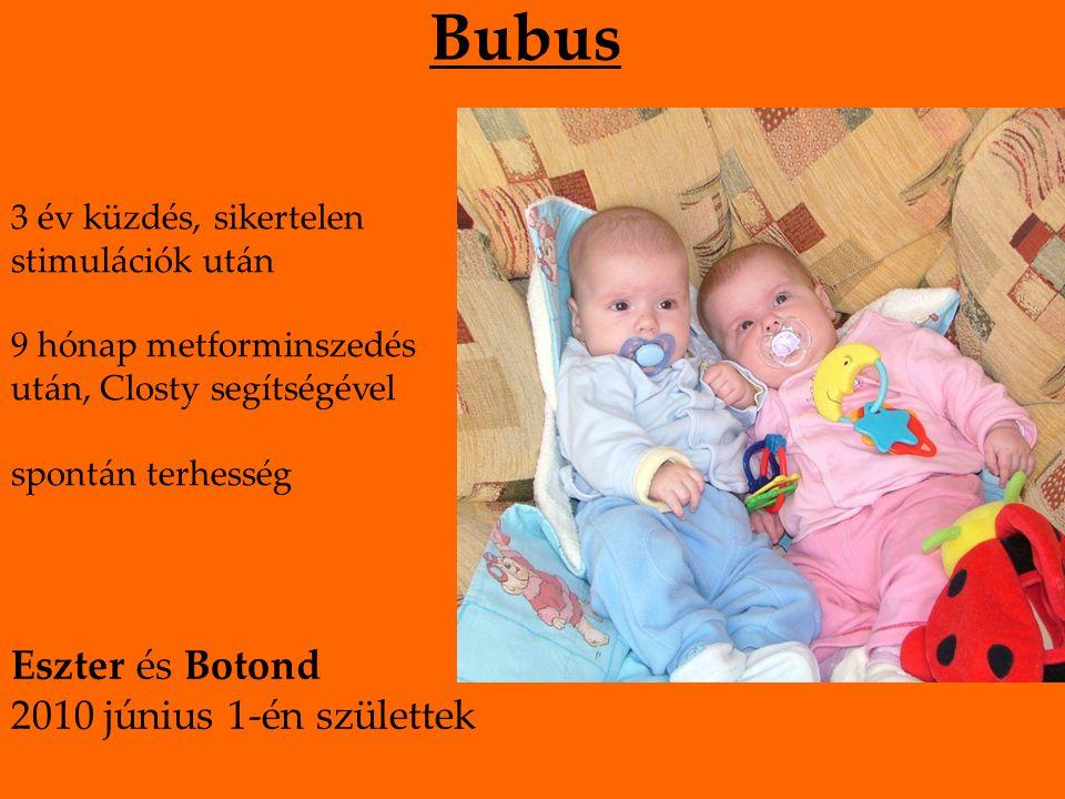 Bubus 3 év küzdés, sikertelen stimulációk után 9 hónap metforminszedés után, Closty segítségével spontán terhesség Eszter és Botond 2010 június 1-én születtek
