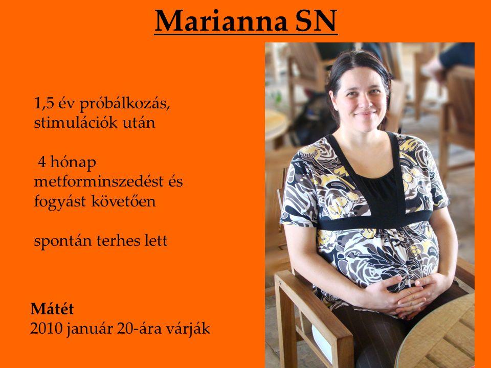 Marianna SN 1,5 év próbálkozás, stimulációk után 4 hónap metforminszedést és fogyást követően spontán terhes lett Mátét 2010 január 20-ára várják