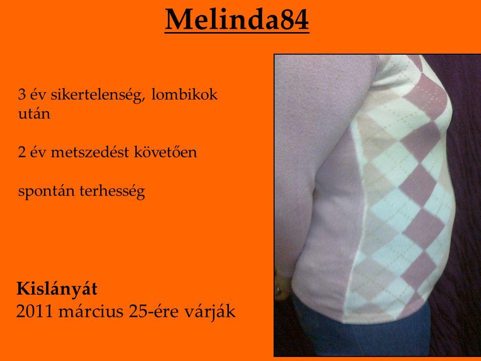 Melinda84 3 év sikertelenség, lombikok után 2 év metszedést követően spontán terhesség Kislányát 2011 március 25-ére várják