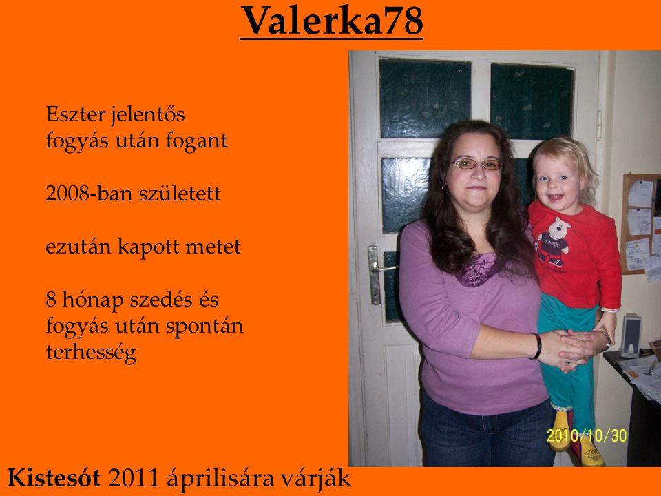 Valerka78 Eszter jelentős fogyás után fogant 2008-ban született ezután kapott metet 8 hónap szedés és fogyás után spontán terhesség Kistesót 2011 áprilisára várják