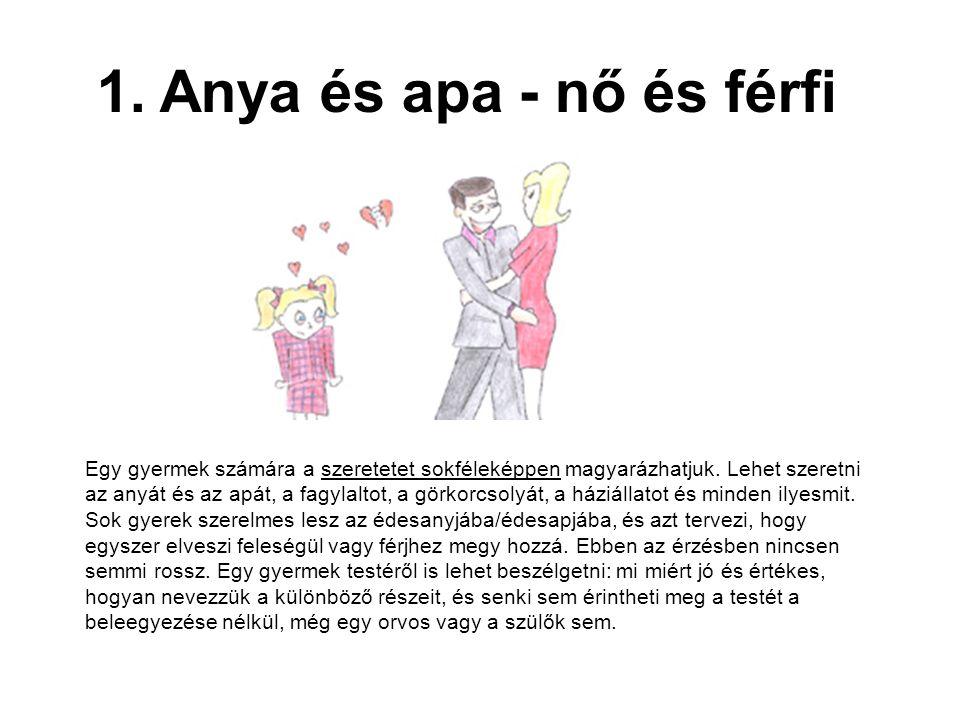 1. Anya és apa - nő és férfi Egy gyermek számára a szeretetet sokféleképpen magyarázhatjuk. Lehet szeretni az anyát és az apát, a fagylaltot, a görkor