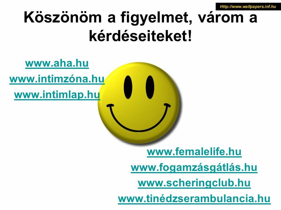 Köszönöm a figyelmet, várom a kérdéseiteket! www.aha.hu www.intimzóna.hu www.intimlap.hu www.femalelife.hu www.fogamzásgátlás.hu www.scheringclub.hu w