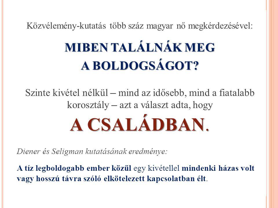Közvélemény-kutatás több száz magyar nő megkérdezésével: MIBEN TALÁLNÁK MEG A BOLDOGSÁGOT.