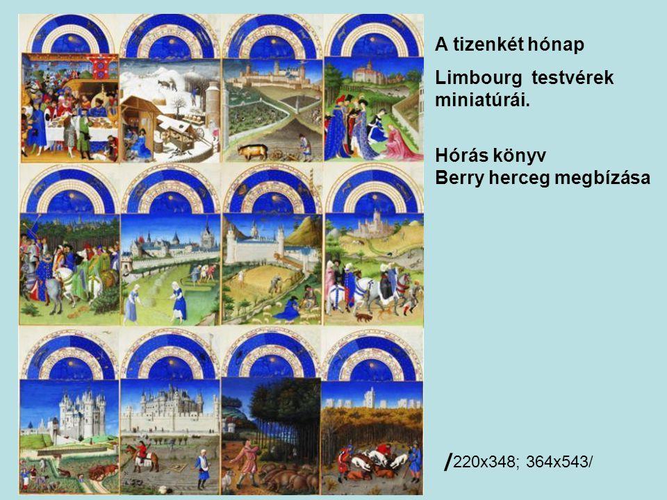 A tizenkét hónap Limbourg testvérek miniatúrái. Hórás könyv Berry herceg megbízása / 220x348; 364x543/
