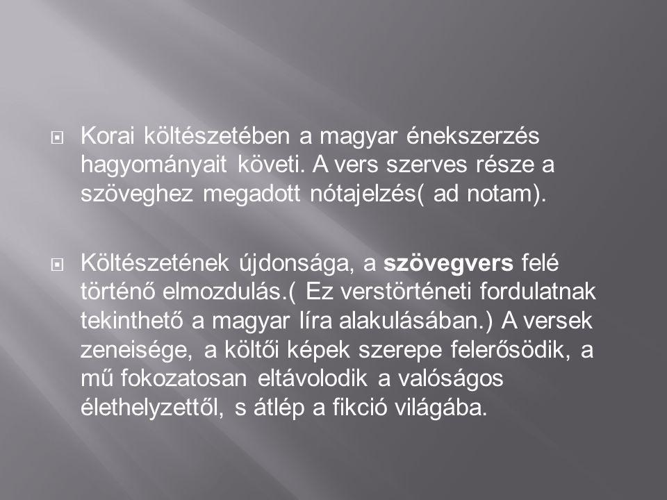  Poeta doctus  Költői tudatossággal törekedett életművének megszerkesztésére→Balassi-kódex  Nevéhez fűződik a Balassi –strófa megalkotása is.  Műv