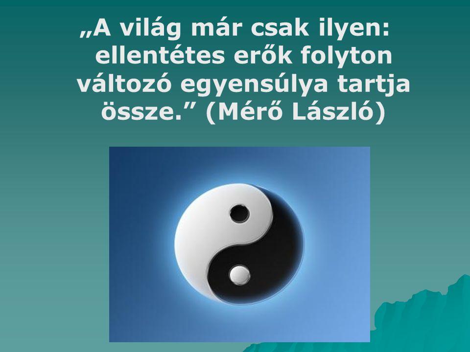 Egyensúly:  Egy rendszernek az az állapota, amelyben az egymásra ható erők hatásának összege zéró.