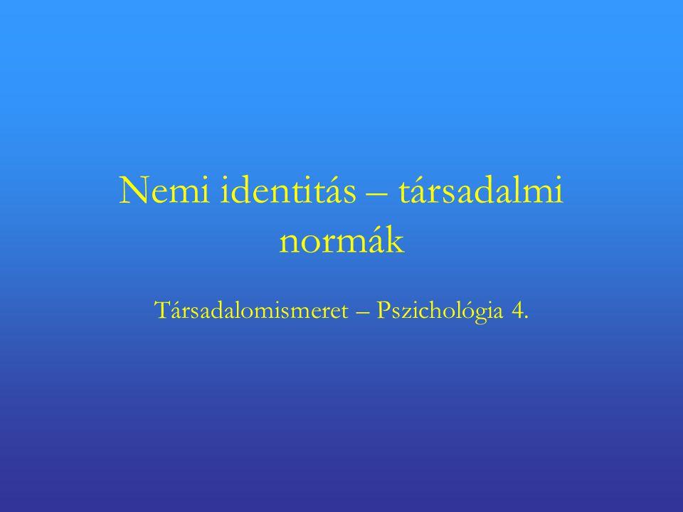 Nemi identitás – társadalmi normák Társadalomismeret – Pszichológia 4.