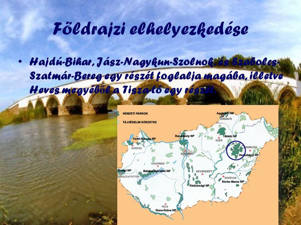 Földrajzi elhelyezkedése •Hajdú-Bihar, Jász-Nagykun-Szolnok, és Szabolcs- Szatmár-Bereg egy részét foglalja magába, illetve Heves megyéb ő l a Tisza-tó egy részét.