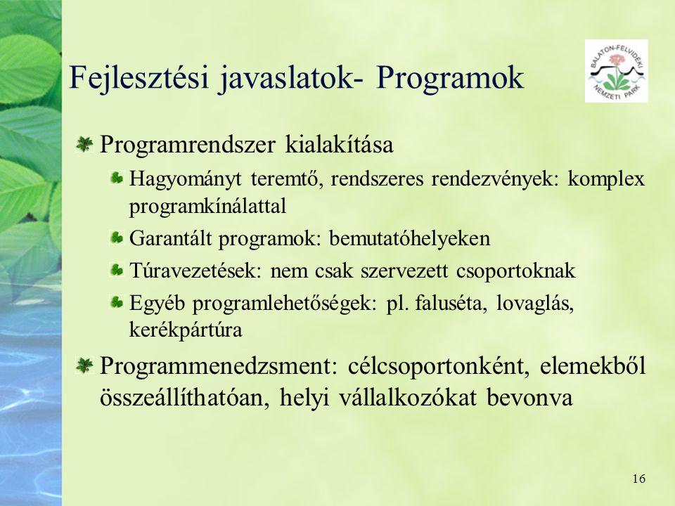 16 Fejlesztési javaslatok- Programok Programrendszer kialakítása Hagyományt teremtő, rendszeres rendezvények: komplex programkínálattal Garantált prog