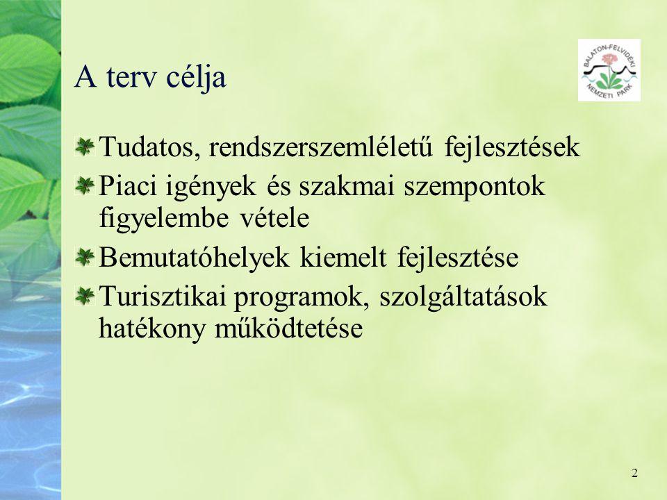 2 A terv célja Tudatos, rendszerszemléletű fejlesztések Piaci igények és szakmai szempontok figyelembe vétele Bemutatóhelyek kiemelt fejlesztése Turis