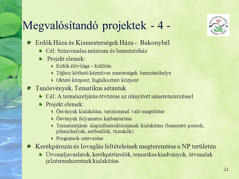 21 Megvalósítandó projektek - 4 - Erdők Háza és Kismesterségek Háza - Bakonybél Cél: Színvonalas múzeum és bemutatóház Projekt elemek: Erdők élővilága