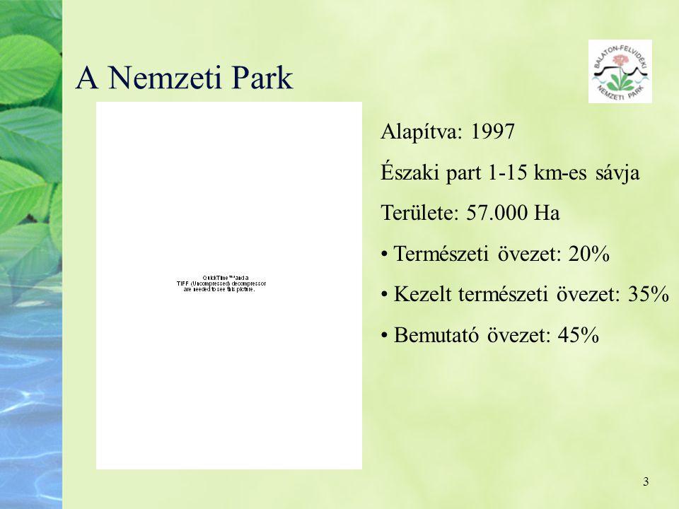 3 A Nemzeti Park Alapítva: 1997 Északi part 1-15 km-es sávja Területe: 57.000 Ha • Természeti övezet: 20% • Kezelt természeti övezet: 35% • Bemutató ö