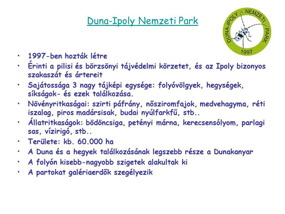Duna-Ipoly Nemzeti Park •1997-ben hozták létre •Érinti a pilisi és börzsönyi tájvédelmi körzetet, és az Ipoly bizonyos szakaszát és ártereit •Sajátoss
