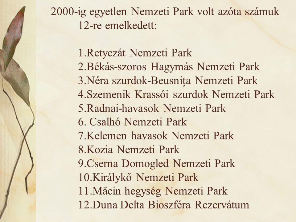 2000-ig egyetlen Nemzeti Park volt azóta számuk 12-re emelkedett: 1.Retyezát Nemzeti Park 2.Békás-szoros Hagymás Nemzeti Park 3.Néra szurdok-Beusniţa