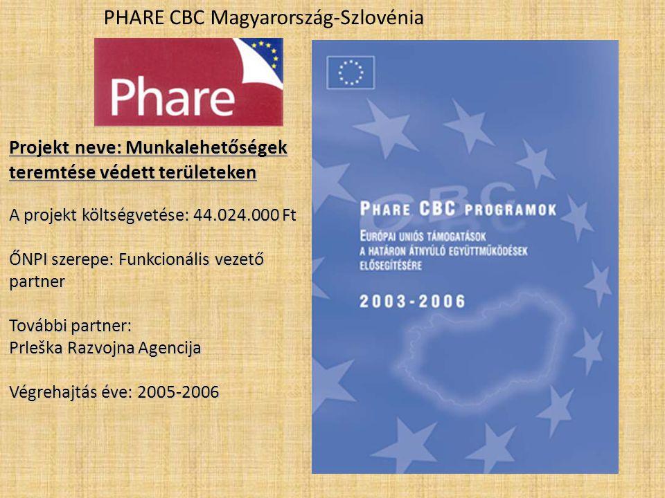 PHARE CBC Magyarország-Szlovénia Projekt neve: Munkalehetőségek teremtése védett területeken A projekt költségvetése: 44.024.000 Ft ŐNPI szerepe: Funkcionális vezető partner További partner: Prleška Razvojna Agencija Végrehajtás éve: 2005-2006