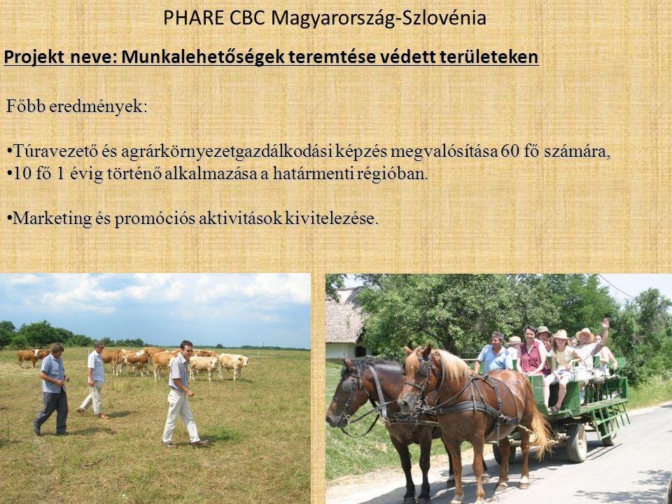 PHARE CBC Magyarország-Szlovénia Főbb eredmények: • Túravezető és agrárkörnyezetgazdálkodási képzés megvalósítása 60 fő számára, • 10 fő 1 évig történő alkalmazása a határmenti régióban.