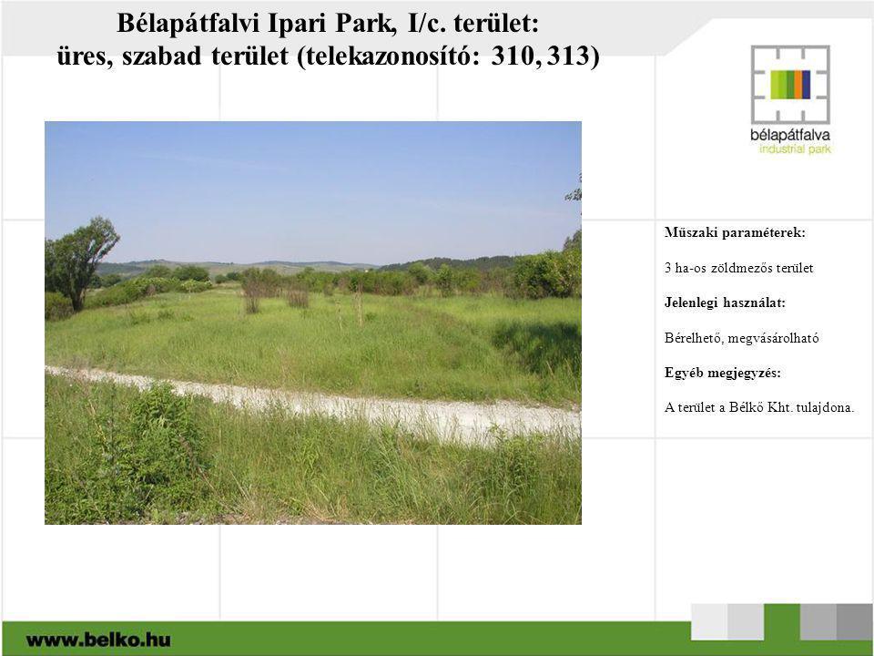 Bélapátfalvi Ipari Park, I/c. terület: üres, szabad terület (telekazonosító: 310, 313) Műszaki paraméterek: 3 ha-os zöldmezős terület Jelenlegi haszná