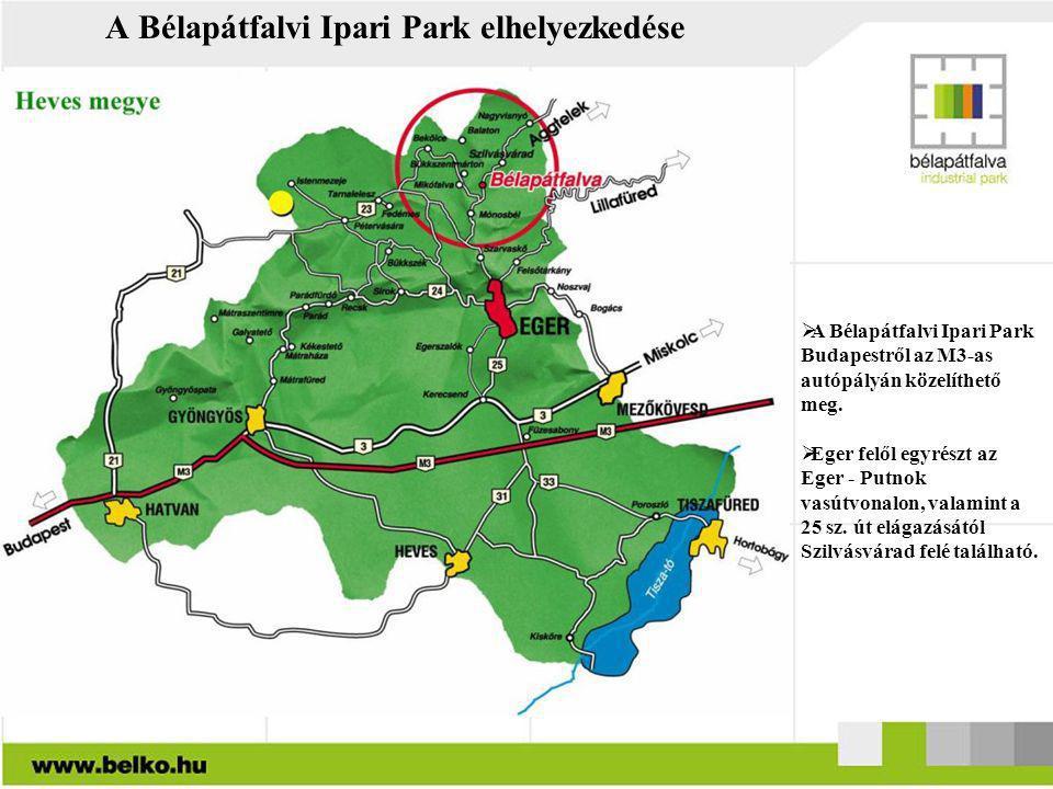 A Bélapátfalvi Ipari Park elhelyezkedése  A Bélapátfalvi Ipari Park Budapestről az M3-as autópályán közelíthető meg.  Eger felől egyrészt az Eger -