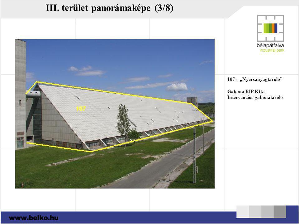 """107 – """"Nyersanyagtároló"""" Gabona BIP Kft.: Intervenciós gabonatároló III. terület panorámaképe (3/8)"""