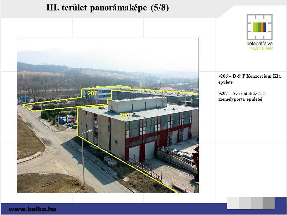III. terület panorámaképe (5/8)  206 – D & P Konzorcium Kft. épülete  207 – Az irodaház és a személyporta épületei