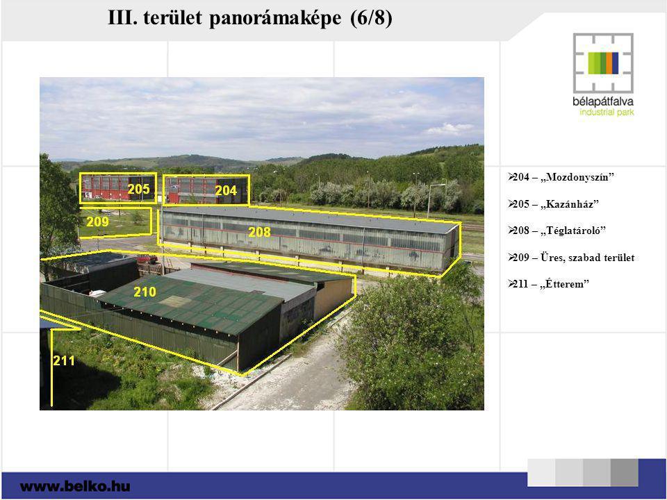 """III. terület panorámaképe (6/8)  204 – """"Mozdonyszín""""  205 – """"Kazánház""""  208 – """"Téglatároló""""  209 – Üres, szabad terület  211 – """"Étterem"""""""