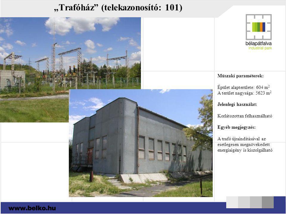 """""""Trafóház"""" (telekazonosító: 101) Műszaki paraméterek: Épület alapterülete: 604 m 2 A terület nagysága: 5623 m 2 Jelenlegi használat: Korlátozottan fel"""
