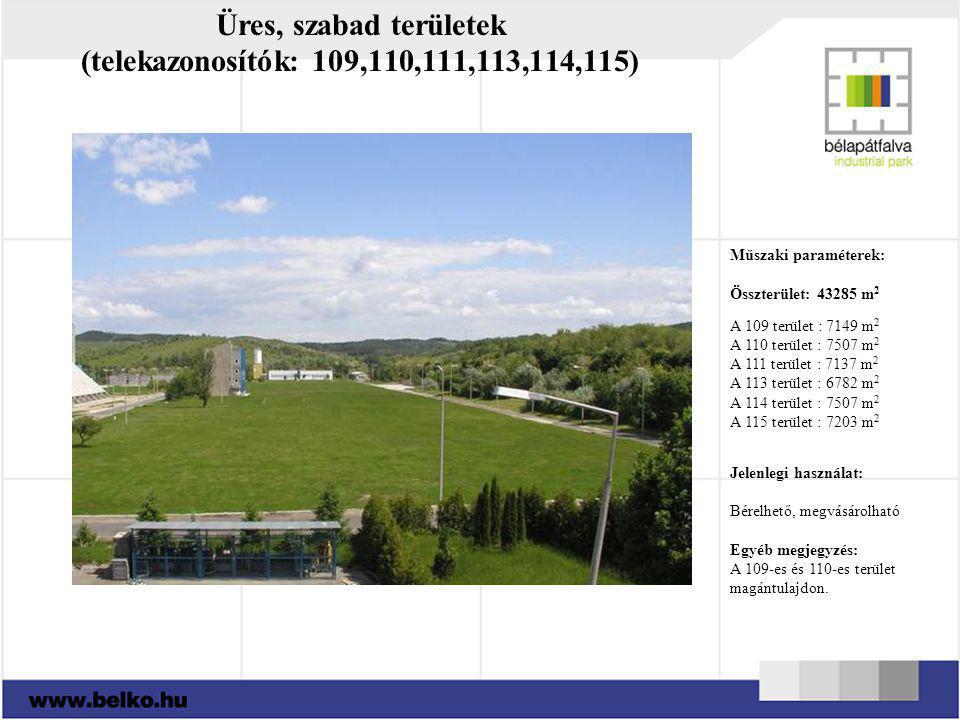 Üres, szabad területek (telekazonosítók: 109,110,111,113,114,115) Műszaki paraméterek: Összterület: 43285 m 2 A 109 terület : 7149 m 2 A 110 terület :