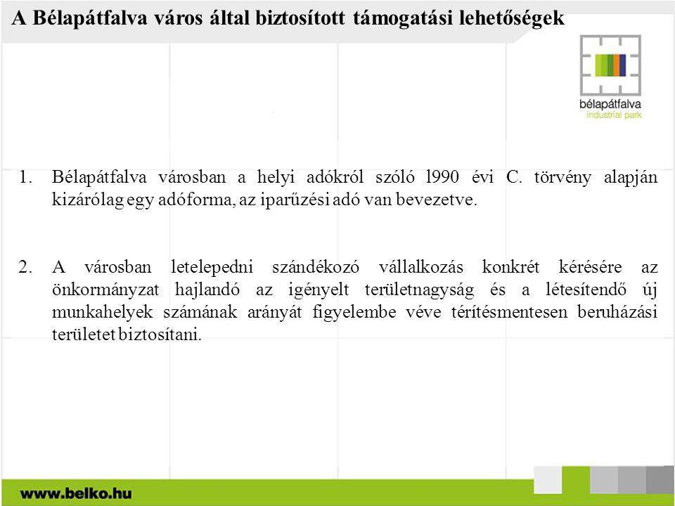A Bélapátfalva város által biztosított támogatási lehetőségek 1.Bélapátfalva városban a helyi adókról szóló l990 évi C. törvény alapján kizárólag egy