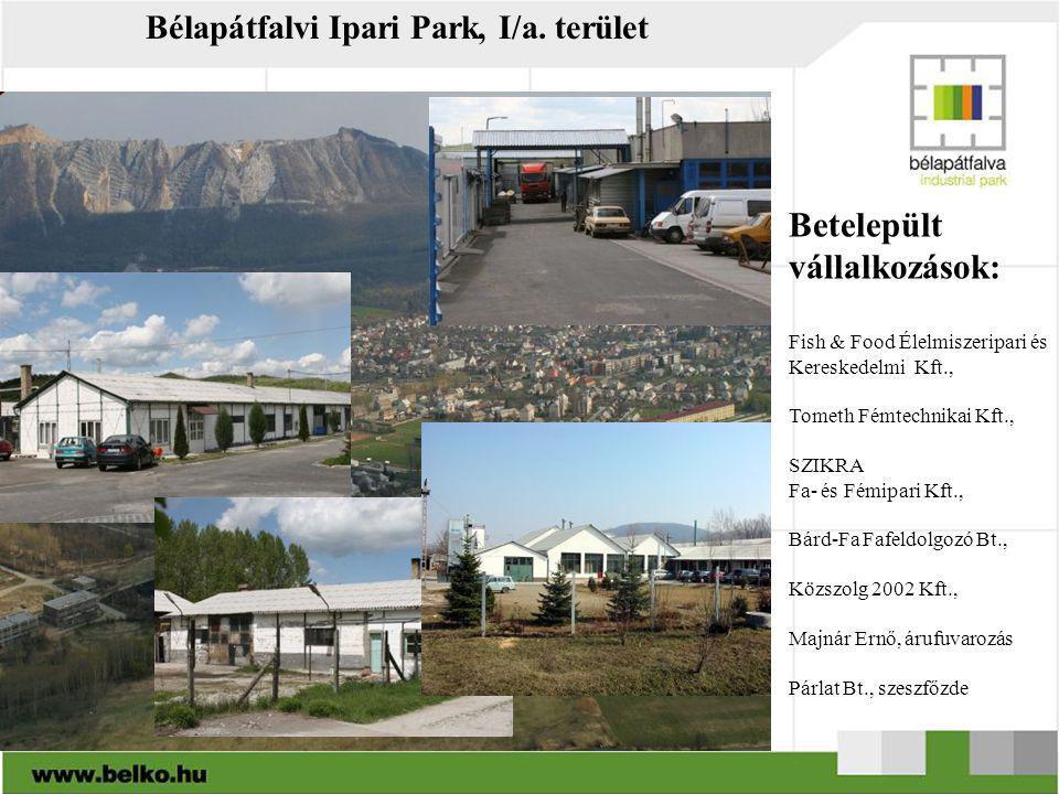 Bélapátfalvi Ipari Park, I/a. terület Betelepült vállalkozások: Fish & Food Élelmiszeripari és Kereskedelmi Kft., Tometh Fémtechnikai Kft., SZIKRA Fa-