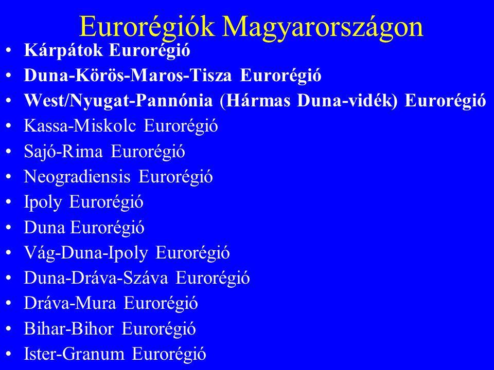 Eurorégiók Magyarországon •Kárpátok Eurorégió •Duna-Körös-Maros-Tisza Eurorégió •West/Nyugat-Pannónia (Hármas Duna-vidék) Eurorégió •Kassa-Miskolc Eurorégió •Sajó-Rima Eurorégió •Neogradiensis Eurorégió •Ipoly Eurorégió •Duna Eurorégió •Vág-Duna-Ipoly Eurorégió •Duna-Dráva-Száva Eurorégió •Dráva-Mura Eurorégió •Bihar-Bihor Eurorégió •Ister-Granum Eurorégió