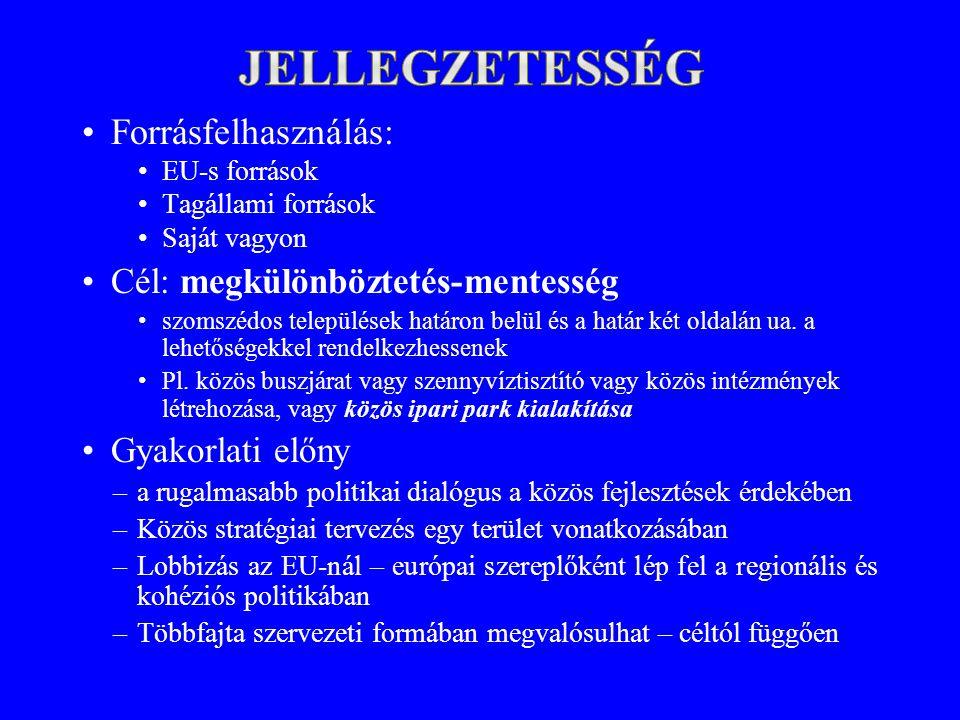 •Forrásfelhasználás: •EU-s források •Tagállami források •Saját vagyon •Cél: megkülönböztetés-mentesség •szomszédos települések határon belül és a határ két oldalán ua.