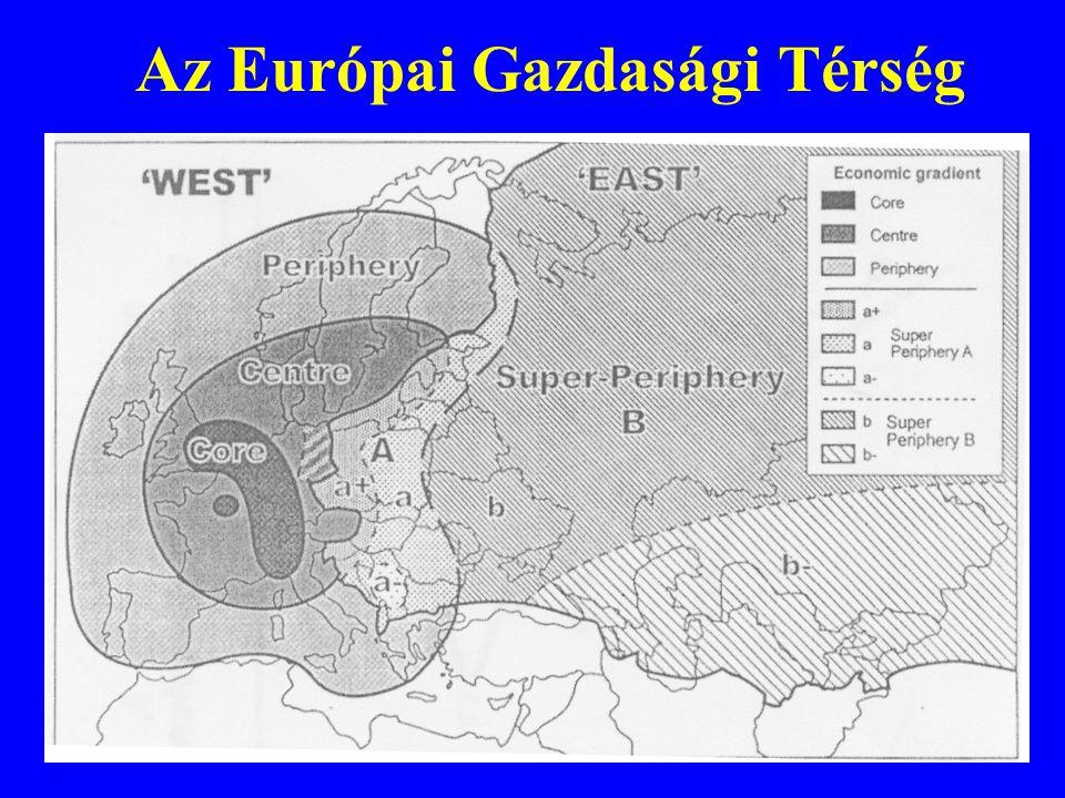 •Térségi versenyképesség •Területi felzárkózás – esélyteremtés •Fenntartható területi fejlődés •Regionalizmus és decentralizáció •Integrálódás Európába A területfejlesztés új célrendszere