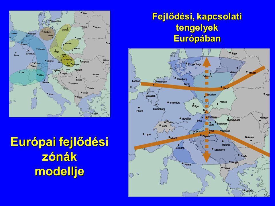 Európai fejlődési zónák modellje Fejlődési, kapcsolati tengelyek Európában