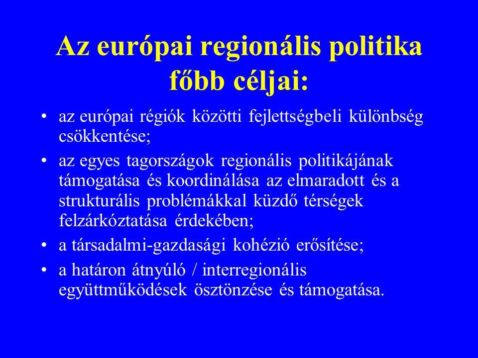 Az európai regionális politika főbb céljai: •az európai régiók közötti fejlettségbeli különbség csökkentése; •az egyes tagországok regionális politikájának támogatása és koordinálása az elmaradott és a strukturális problémákkal küzdő térségek felzárkóztatása érdekében; •a társadalmi-gazdasági kohézió erősítése; •a határon átnyúló / interregionális együttműködések ösztönzése és támogatása.