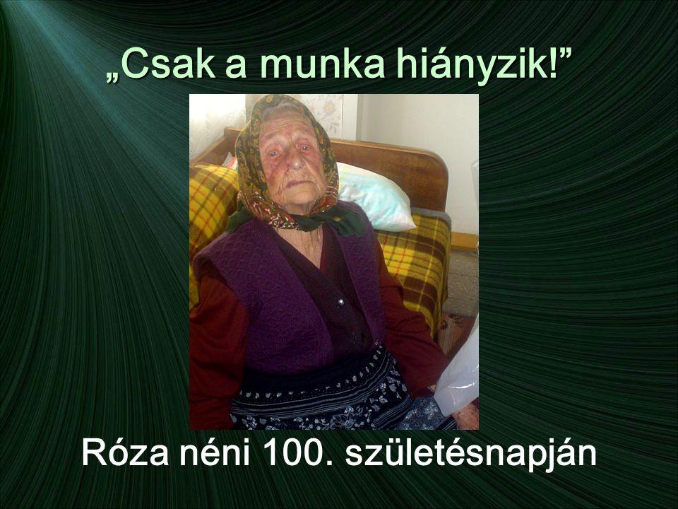 """""""Csak a munka hiányzik! Róza néni 100. születésnapján"""