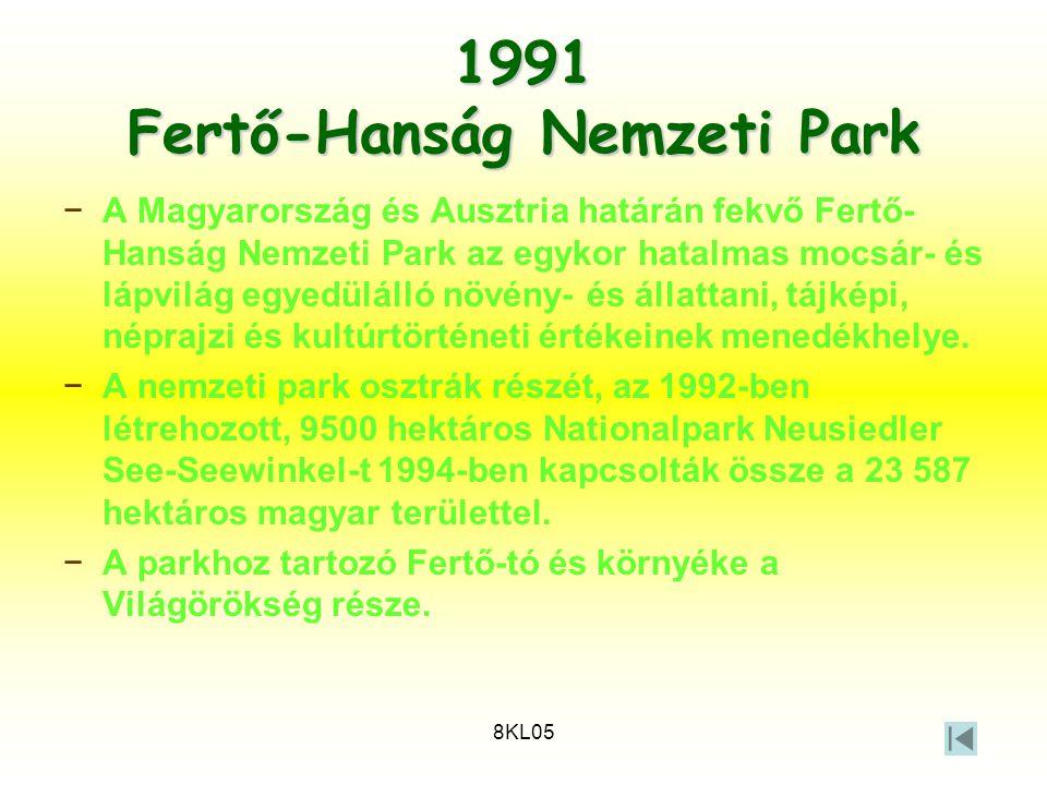 8KL05 1991 Fertő-Hanság Nemzeti Park −A Magyarország és Ausztria határán fekvő Fertő- Hanság Nemzeti Park az egykor hatalmas mocsár- és lápvilág egyed