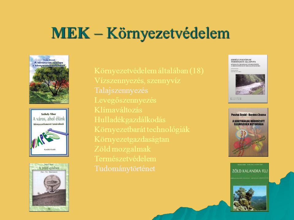 MEK – Környezetvédelem Környezetvédelem általában (18) Vízszennyezés, szennyvíz Talajszennyezés Levegőszennyezés Klímaváltozás Hulladékgazdálkodás Kör