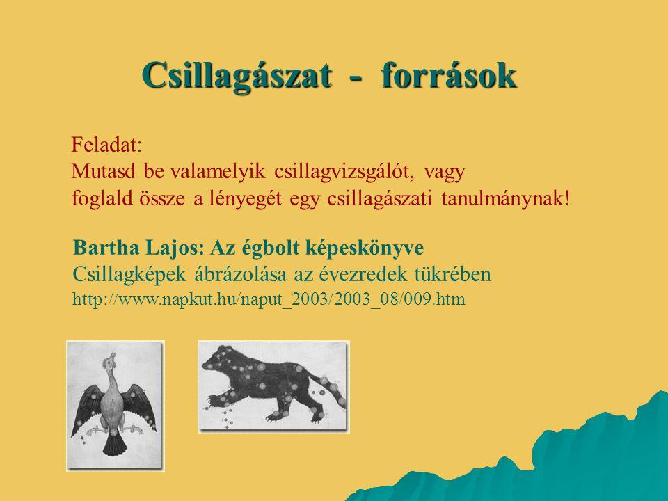Csillagászat - források Bartha Lajos: Az égbolt képeskönyve Csillagképek ábrázolása az évezredek tükrében http://www.napkut.hu/naput_2003/2003_08/009.