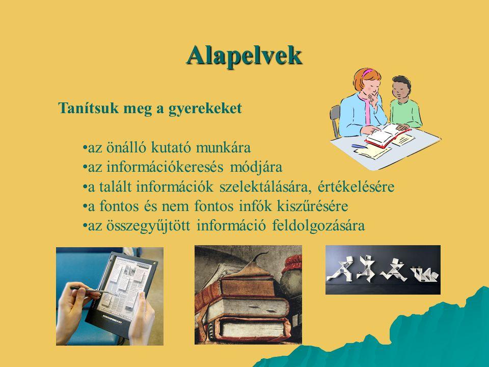 Alapelvek Tanítsuk meg a gyerekeket •az önálló kutató munkára •az információkeresés módjára •a talált információk szelektálására, értékelésére •a font