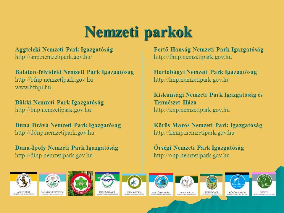 Nemzeti parkok Aggteleki Nemzeti Park Igazgatóság http://anp.nemzetipark.gov.hu/ Balaton-felvidéki Nemzeti Park Igazgatóság http://bfnp.nemzetipark.go