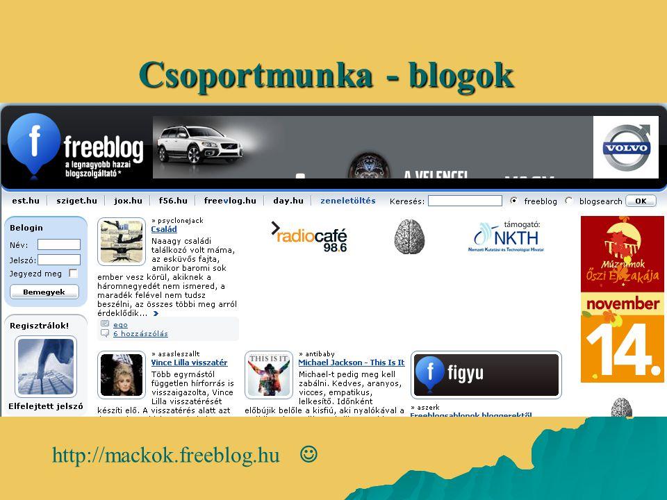 Csoportmunka - blogok http://mackok.freeblog.hu 