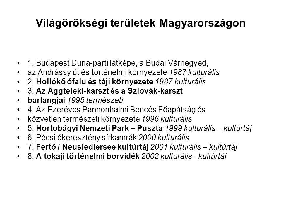 Világörökségi területek Magyarországon •1. Budapest Duna-parti látképe, a Budai Várnegyed, •az Andrássy út és történelmi környezete 1987 kulturális •2